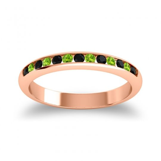 Half Eternity Ceda Black Onyx Band with Peridot in 18K Rose Gold