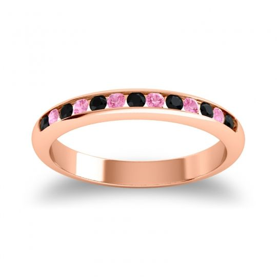 Half Eternity Ceda Black Onyx Band with Pink Tourmaline in 18K Rose Gold