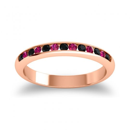 Half Eternity Ceda Black Onyx Band with Ruby in 18K Rose Gold