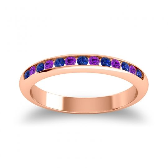 Half Eternity Ceda Blue Sapphire Band with Amethyst in 14K Rose Gold