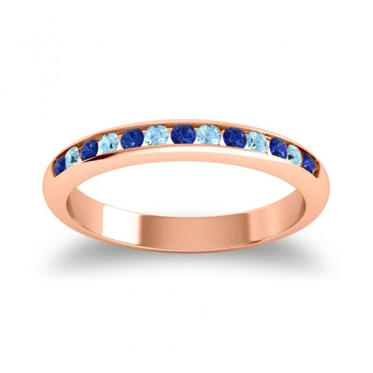 Half Eternity Ceda Blue Sapphire Band with Aquamarine in 18K Rose Gold