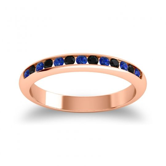 Half Eternity Ceda Blue Sapphire Band with Black Onyx in 18K Rose Gold