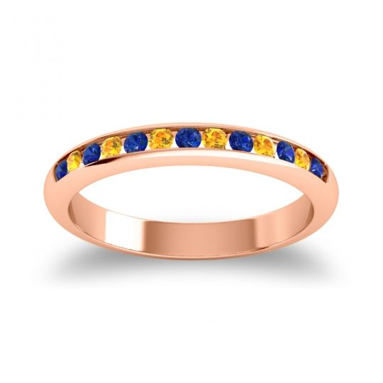 Half Eternity Ceda Blue Sapphire Band with Citrine in 18K Rose Gold