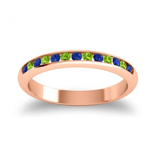 Half Eternity Ceda Blue Sapphire Band with Peridot in 18K Rose Gold