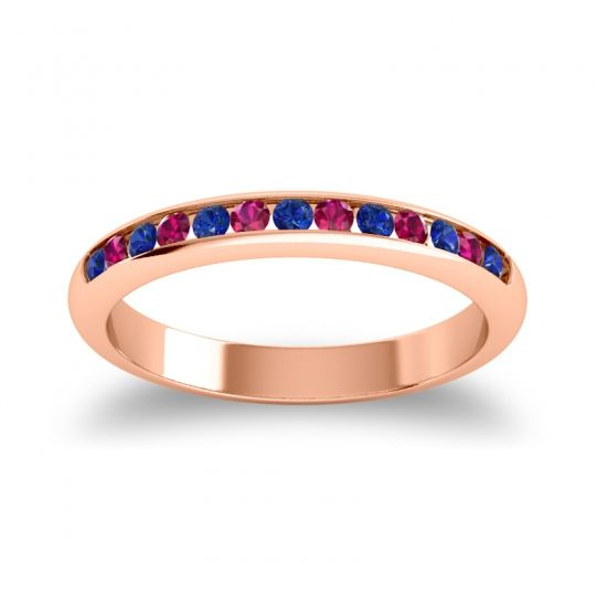 Half Eternity Ceda Blue Sapphire Band with Ruby in 14K Rose Gold