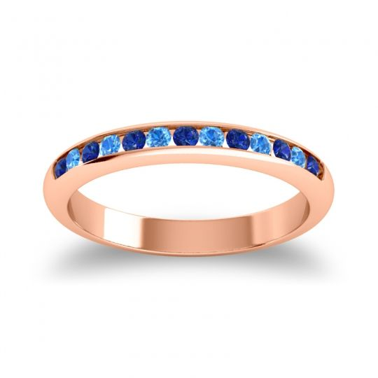 Half Eternity Ceda Blue Sapphire Band with Swiss Blue Topaz in 14K Rose Gold