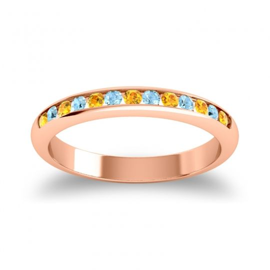 Half Eternity Ceda Citrine Band with Aquamarine in 14K Rose Gold