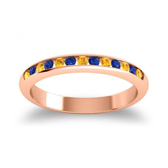 Half Eternity Ceda Citrine Band with Blue Sapphire in 14K Rose Gold