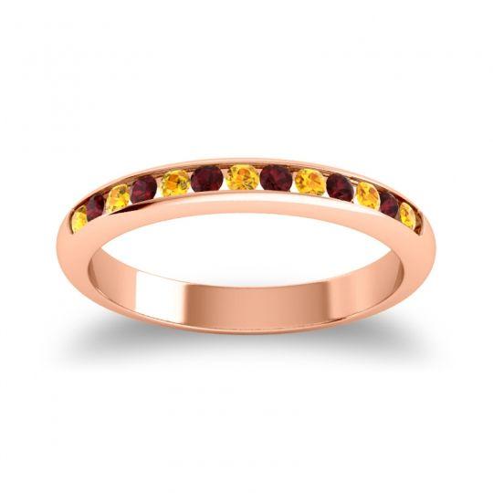Half Eternity Ceda Citrine Band with Garnet in 14K Rose Gold