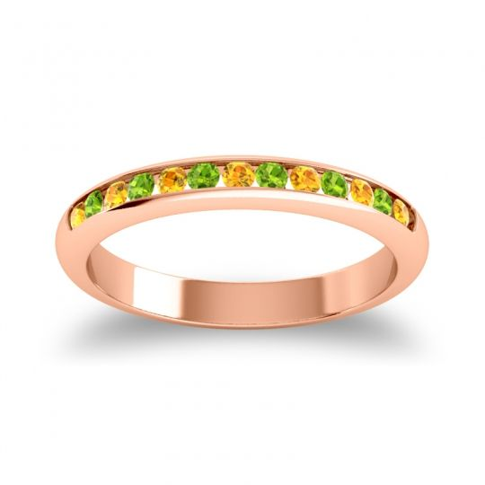 Half Eternity Ceda Citrine Band with Peridot in 14K Rose Gold