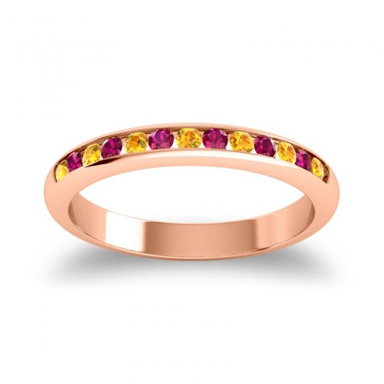 Half Eternity Ceda Citrine Band with Ruby in 18K Rose Gold