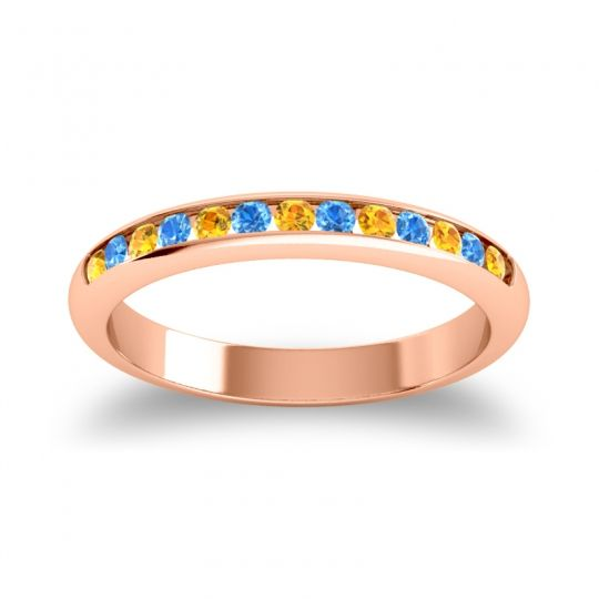 Half Eternity Ceda Citrine Band with Swiss Blue Topaz in 14K Rose Gold
