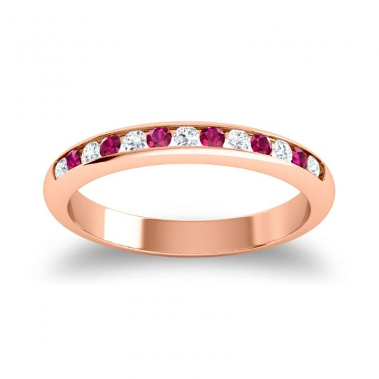 Half Eternity Ceda Diamond Band with Ruby in 14K Rose Gold
