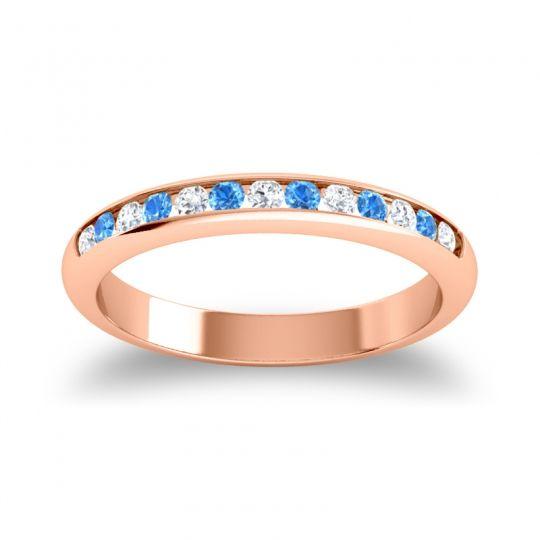 Half Eternity Ceda Diamond Band with Swiss Blue Topaz in 18K Rose Gold