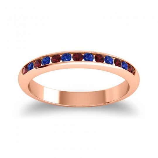 Half Eternity Ceda Garnet Band with Blue Sapphire in 14K Rose Gold