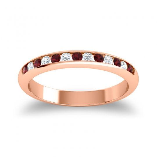 Half Eternity Ceda Garnet Band with Diamond in 18K Rose Gold