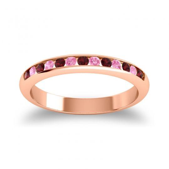 Half Eternity Ceda Garnet Band with Pink Tourmaline in 18K Rose Gold
