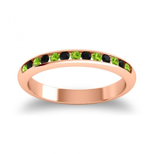 Half Eternity Ceda Peridot Band with Black Onyx in 14K Rose Gold
