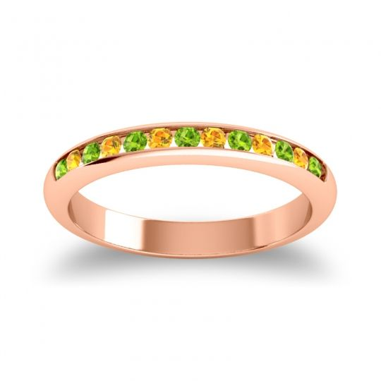 Half Eternity Ceda Peridot Band with Citrine in 18K Rose Gold