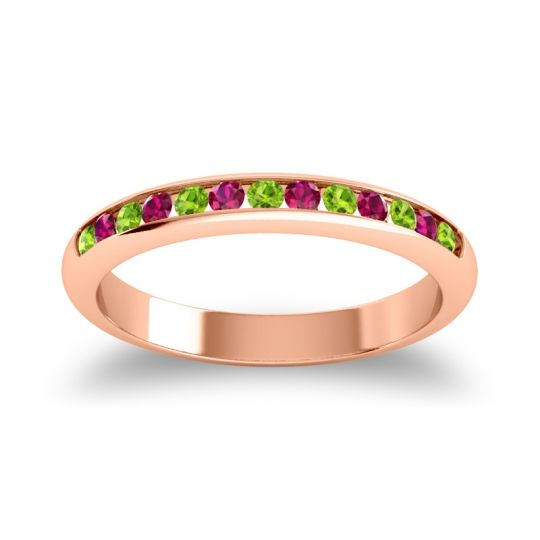 Half Eternity Ceda Peridot Band with Ruby in 14K Rose Gold
