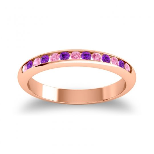 Half Eternity Ceda Pink Tourmaline Band with Amethyst in 14K Rose Gold