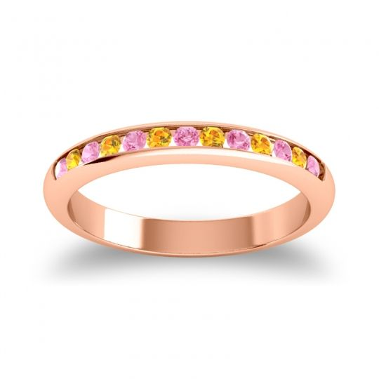 Half Eternity Ceda Pink Tourmaline Band with Citrine in 14K Rose Gold