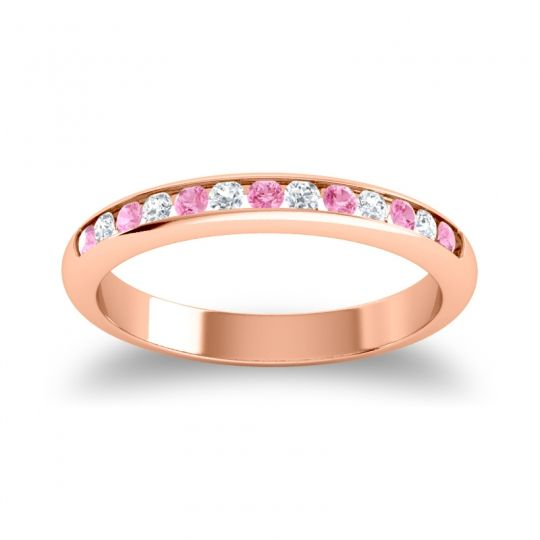 Half Eternity Ceda Pink Tourmaline Band with Diamond in 14K Rose Gold