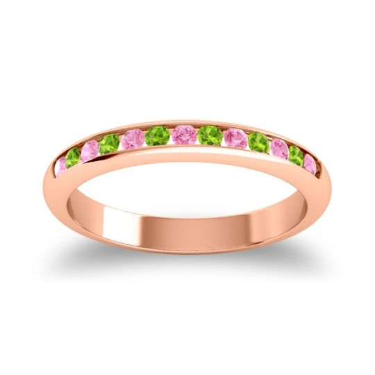 Half Eternity Ceda Pink Tourmaline Band with Peridot in 14K Rose Gold