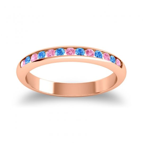 Half Eternity Ceda Pink Tourmaline Band with Swiss Blue Topaz in 14K Rose Gold