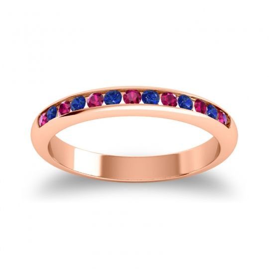 Half Eternity Ceda Ruby Band with Blue Sapphire in 18K Rose Gold