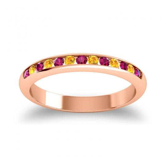 Half Eternity Ceda Ruby Band with Citrine in 14K Rose Gold