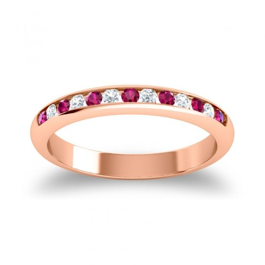 Half Eternity Ceda Ruby Band with Diamond in 18K Rose Gold