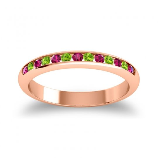 Half Eternity Ceda Ruby Band with Peridot in 18K Rose Gold
