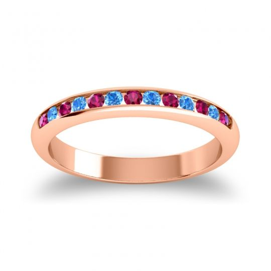 Half Eternity Ceda Ruby Band with Swiss Blue Topaz in 18K Rose Gold