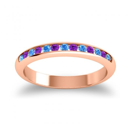 Half Eternity Ceda Swiss Blue Topaz Band with Amethyst in 14K Rose Gold