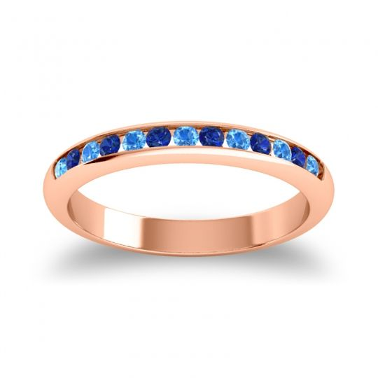 Half Eternity Ceda Swiss Blue Topaz Band with Blue Sapphire in 14K Rose Gold