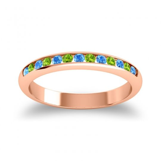 Half Eternity Ceda Swiss Blue Topaz Band with Peridot in 18K Rose Gold