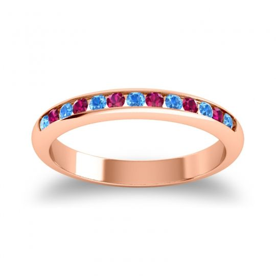 Half Eternity Ceda Swiss Blue Topaz Band with Ruby in 14K Rose Gold