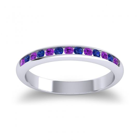 Half Eternity Ceda Amethyst Band with Blue Sapphire in 14k White Gold