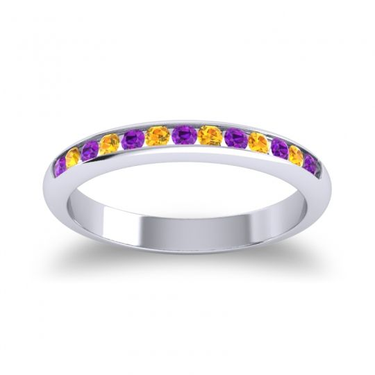 Half Eternity Ceda Amethyst Band with Citrine in 14k White Gold