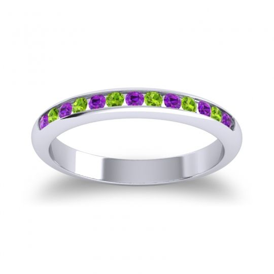 Half Eternity Ceda Amethyst Band with Peridot in 18k White Gold