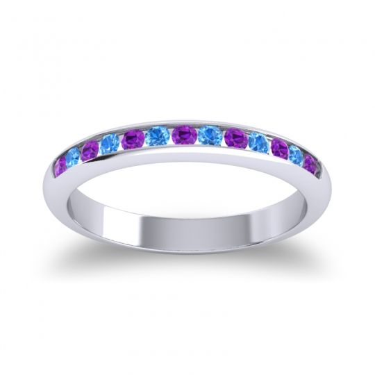 Half Eternity Ceda Amethyst Band with Swiss Blue Topaz in 18k White Gold