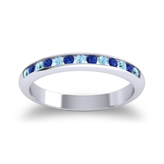 Half Eternity Ceda Aquamarine Band with Blue Sapphire in 18k White Gold