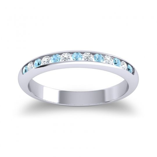 Half Eternity Ceda Aquamarine Band with Diamond in Platinum