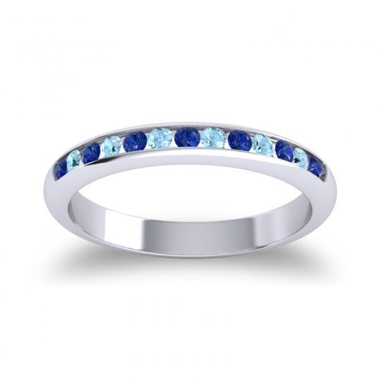 Half Eternity Ceda Blue Sapphire Band with Aquamarine in Platinum