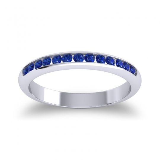 Half Eternity Ceda Blue Sapphire Band in Palladium