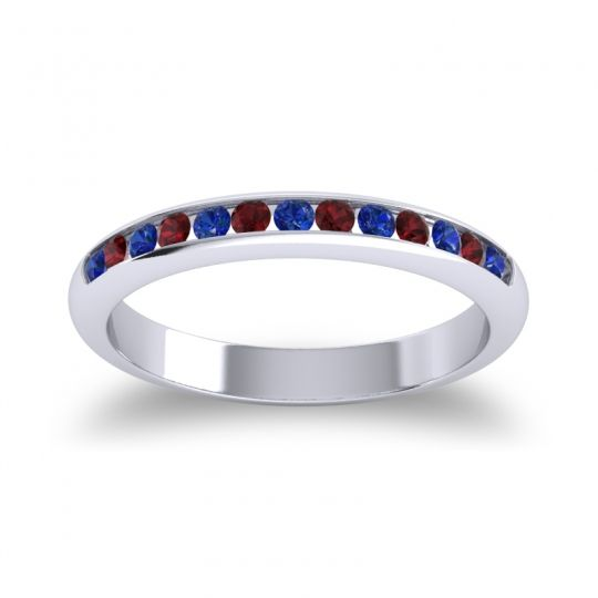 Half Eternity Ceda Blue Sapphire Band with Garnet in 18k White Gold