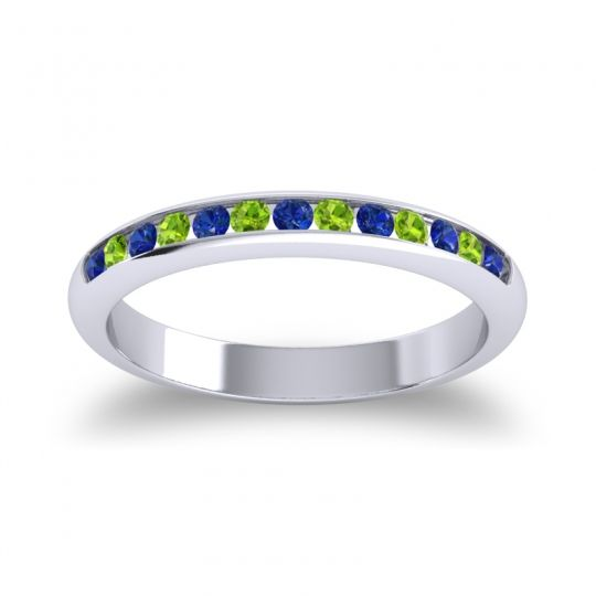 Half Eternity Ceda Blue Sapphire Band with Peridot in Platinum