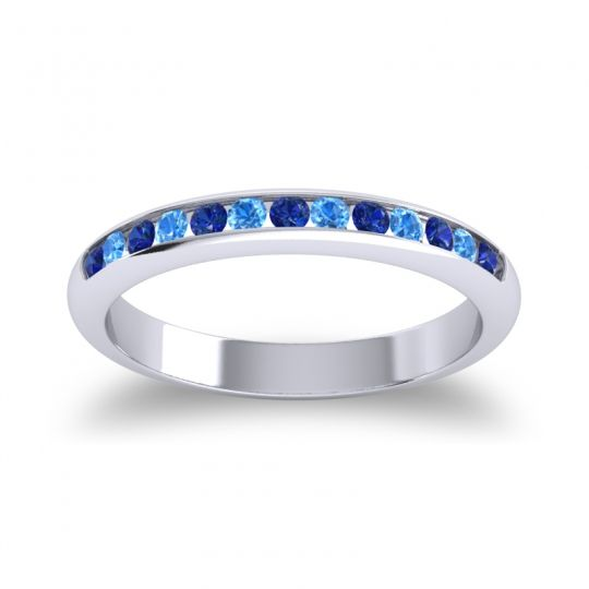 Half Eternity Ceda Blue Sapphire Band with Swiss Blue Topaz in 14k White Gold