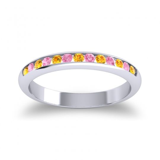 Half Eternity Ceda Citrine Band with Pink Tourmaline in 18k White Gold